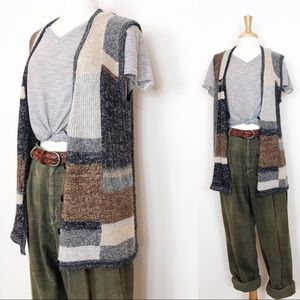 Vintage Sweater Vest / Sleeveless Cardigan • XL